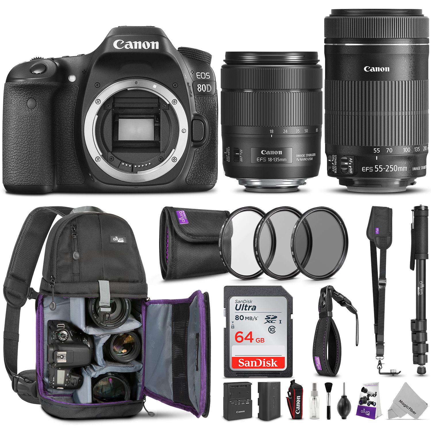 Canon EOS 80D DSLR Camera with EF-S 18-135mm f/3.5-5.6 IS USM and EF-S 55-250mm f/4-5.6 IS STM Lens w/ Advanced Photo and Travel Bundle