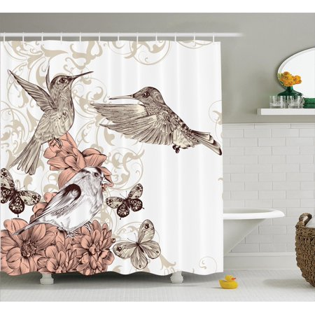 Hummingbirds Decorations Shower Curtain Set Vintage Style Artwork With Birds Butterflies On Blossoms Ornamental Background