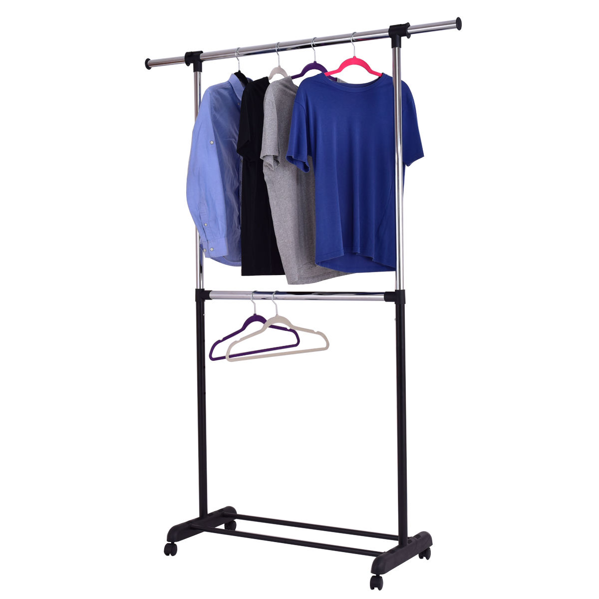 Zimtown Ajustble Portable Rolling Clothes Rack Single Hanging Garment Bar Heavy Duty Hanger
