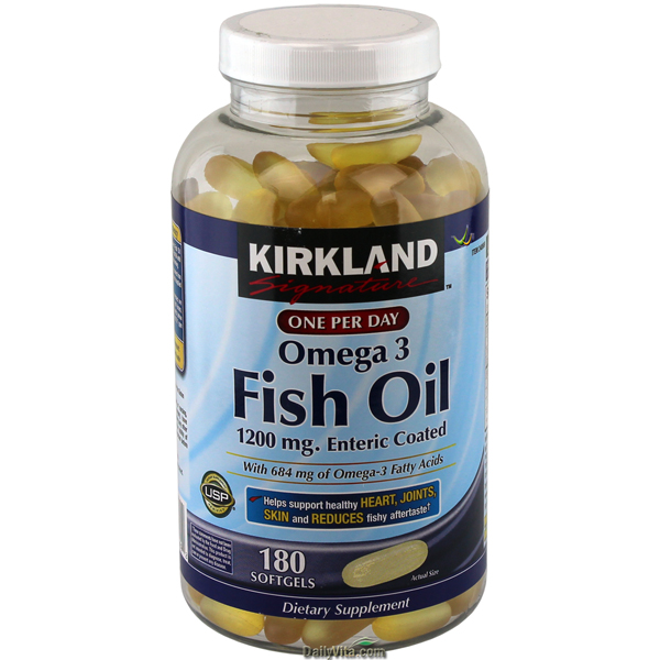 Kirkland Signature Fish Oil w/ Omega-3 Enteric Coated 180 Softgels