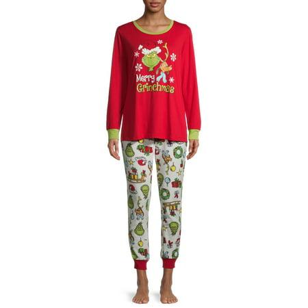 Matching Family Christmas Pajamas Women's and Women's Plus Grinch 2-Piece Pajama Set