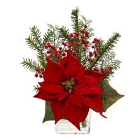 Poinsettia, Pine & Berries in Vase Artificial Arrangement