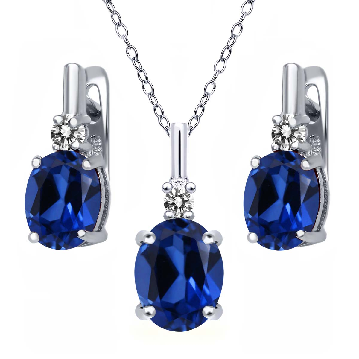 6.97 Ct Blue Simulated Sapphire White Diamond 925 Silver Pendant Earrings Set by