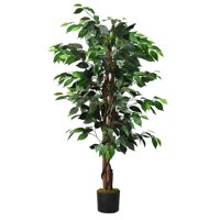 Gymax 4Ft Artificial Ficus Tree Fake Greenery Plant Home Office Decoration
