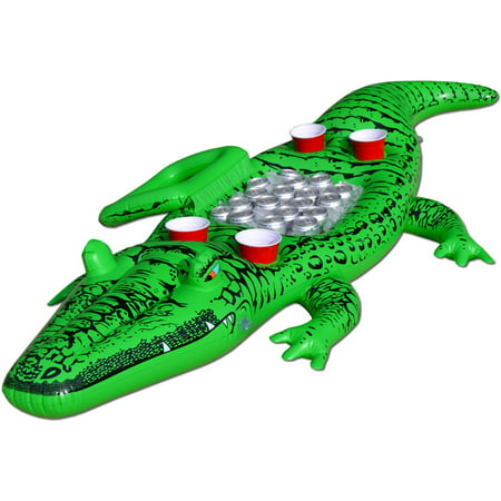 Floating Gator (GoFloats Party Gator Floating Alligator with Cooler and Cup Holders, Over 6' Long)