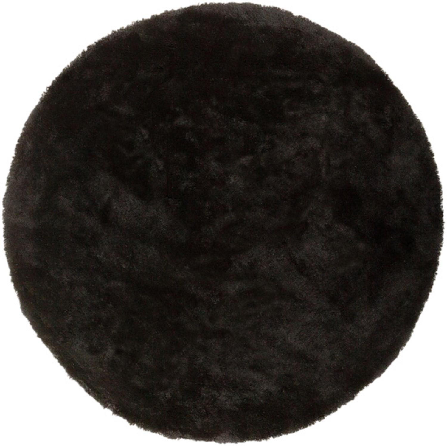 8' Calming Spectrum Jet Black Hand Woven Ultra Plush Round Area Throw Rug