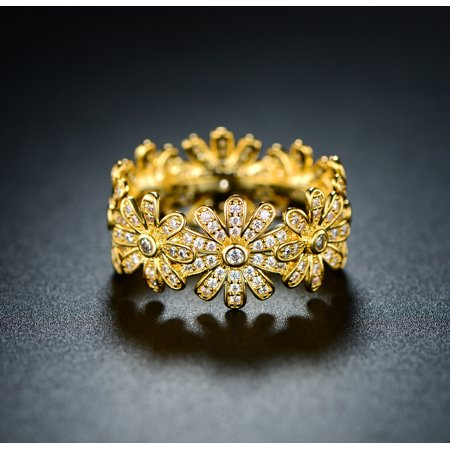 18K Gold Plated & Cubic Zirconia Flower (Plated Flower Shape)