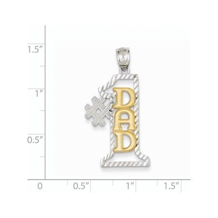 14K deux tons d'or deux tons Papa # 1 D / C (12x34mm) Pendentif / Breloque - image 1 de 2
