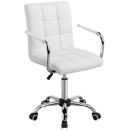 Yaheetech Modern PU Leather Midback 360° Swivel Arms Adjustable Executive Office Chair, White ()