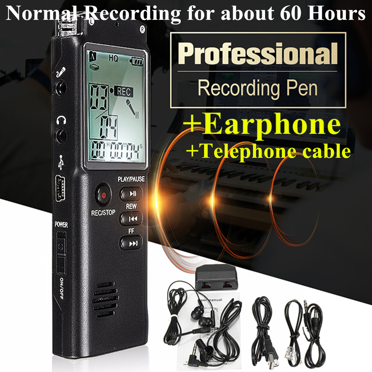 8GB Mini MP3 Music Player Voice Activated LCD Digital HD Audio Voice Telephone Recorder Dictaphone U Flash Disk w/Microphone Speaker+Earphone 8GB Memory Noise Cancelling 60HR