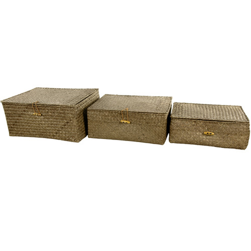 Oriental Furniture Hand Woven Covered Box Set (Set of 3)