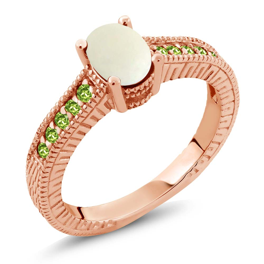 1.13 Ct Oval Simulated Opal and Simulated Peridot 18K Ros...