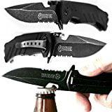 Alpha Tek Serrated Spring Assisted Knife With Bottle Opener   Black