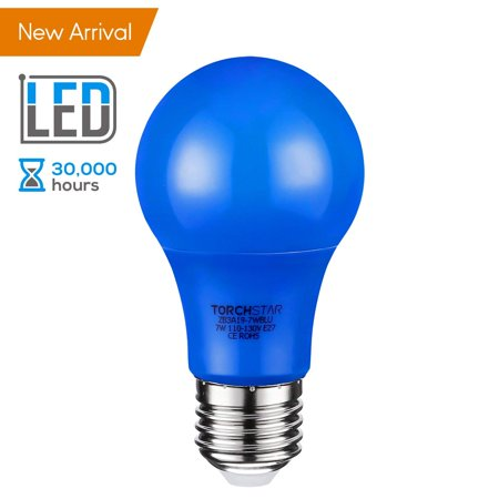 TORCHSTAR Blue LED A19 Colored Light Bulb, 7W, Medium E27 Base, for Party, Celebrations, Commemorative Activities