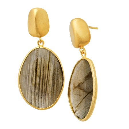 Piara 24 ct Natural Labradorite Drop Earrings in 18kt Gold-Plated Sterling Silver