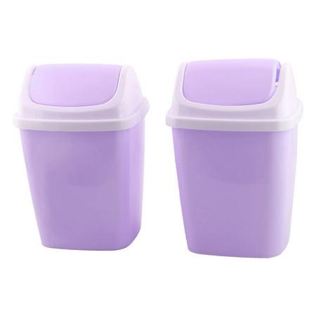 Household Apartment Plastic Litter Rubbish Garbage Bin Can Light Purple 2 PCS