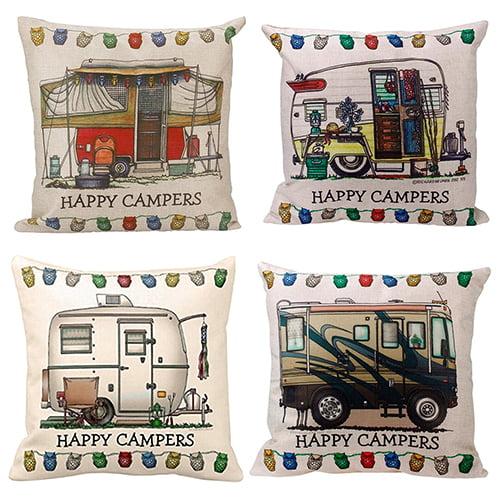 Vintage HAPPY CAMPERS Pillow Case Linen Sofa Waist Throw Cushion Cover Car Decor