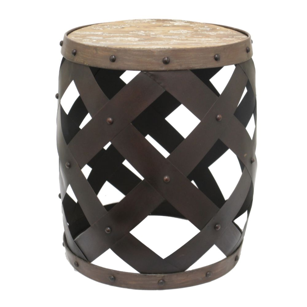 Chic Metal Wood Accent Table