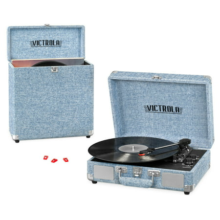 Victrola Record Player Bundle Includes a 3-Speed Turntable, Record Storage Case and Replacement Needles, Light Denim Blue (Record Player In Case)