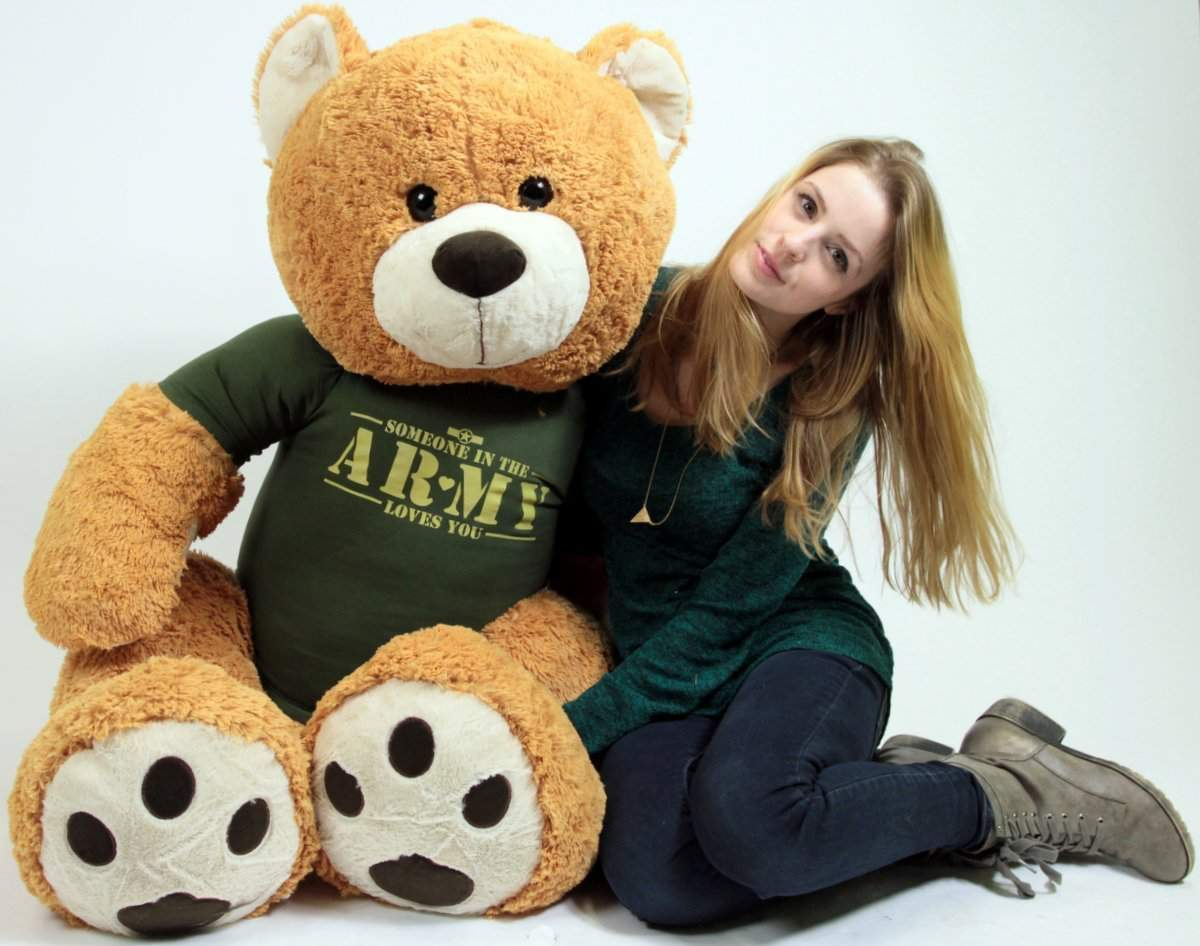 United States Army Big Plush Giant Teddy Bear Five Feet Tall Honey Brown Color Wears Tshirt that says SOMEONE... by BigPlush