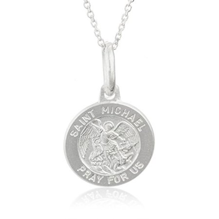 """Real 925 Sterling Silver Saint Michael """"Pray for Us"""" Circle Pendant with an 18 Inch Link Necklace"""