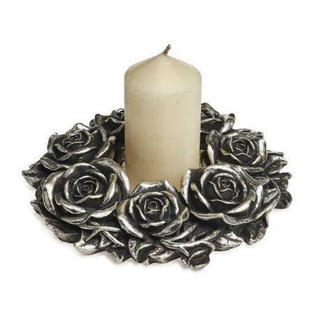 RBI Pillar Candle Holder Elegant Victorian Romance Wreath Silver Roses Victorian Gothic Romance