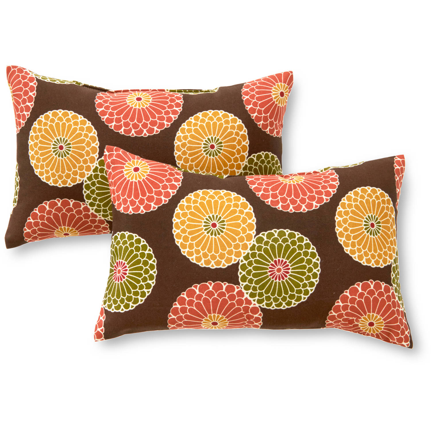 Greendale Home Fashions Rectangle Outdoor Accent Pillows, Set of 2, Flowers on Chocolate