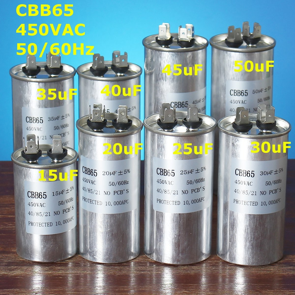 15-50uF CBB65 Air Oil Motor Conditioner Compressor Start Capacitor 450V 50/60HZ