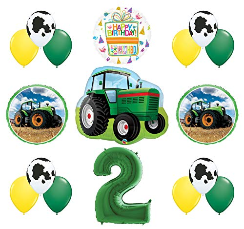 Mayflower Products 2nd Birthday Farm Tractor Balloon Bouquet Decorations and Party - Party And Balloon Store