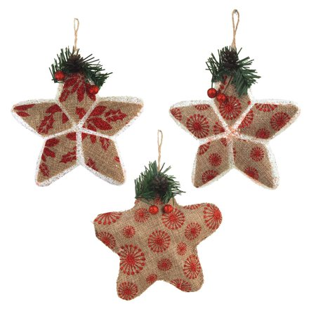 Star Stuffed Burlap Christmas Ornaments, Natural/Red, 5-Inch, 3-Piece](Christmas Stuff)