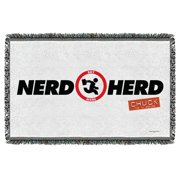 Chuck Nerd Herd Woven Throw White 48X80