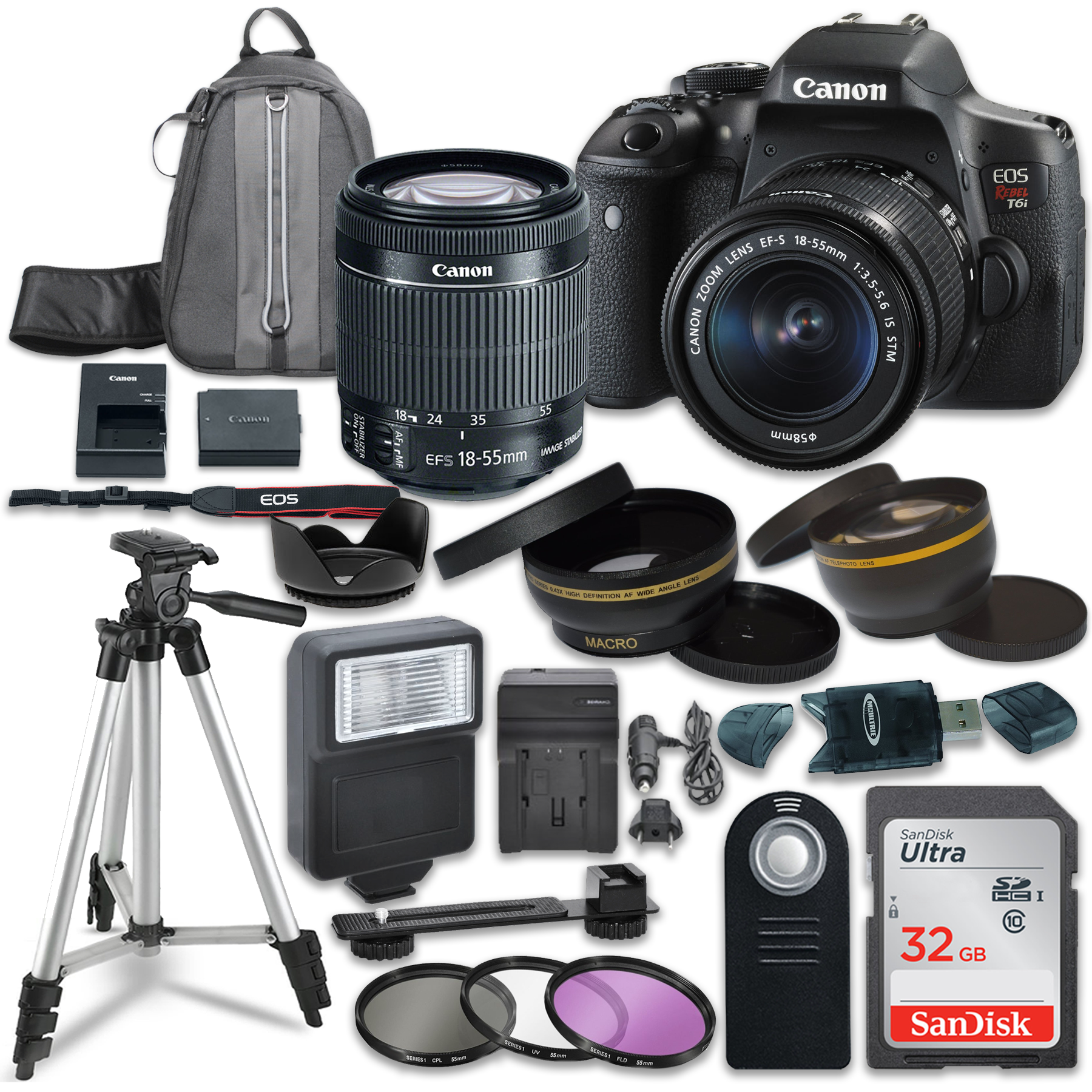 Canon EOS Rebel T6i Digital SLR Camera with Canon EF-S 18-55mm IS STM Lens + Sandisk 32GB SDHC Memory Cards + Accessory Bundle