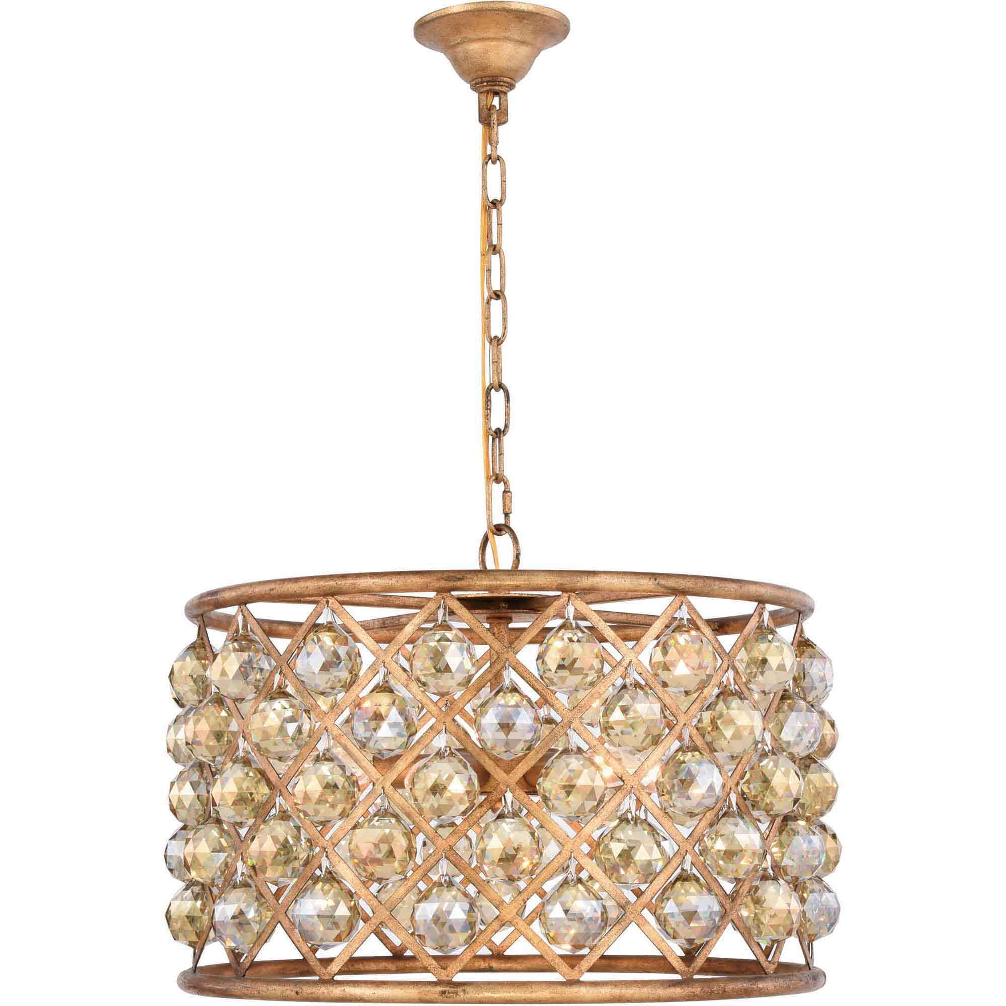 "Madison Collection Pendant Lamp D:20"" H:13"" Lt:6 Golden Iron Finish Royal Cut Golden Teak (Smoky)"