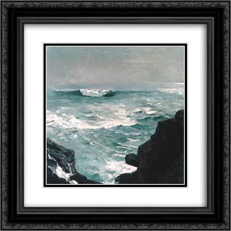 (Winslow Homer 2x Matted 20x20 Black Ornate Framed Art Print 'Cannon Rock')