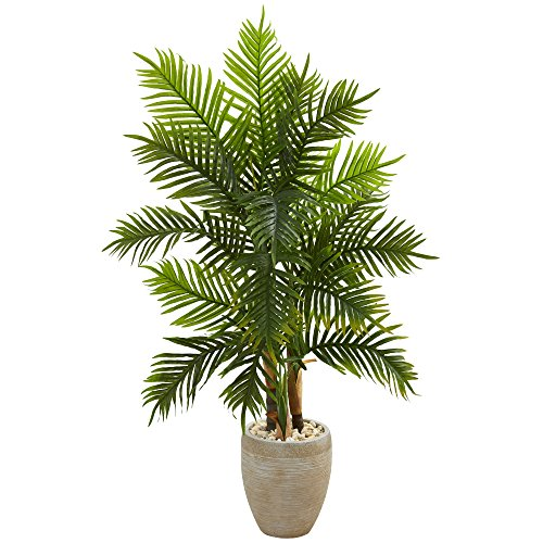 Nearly Natural artificial indoor 5' Areca Palm Artificial Tree in Sand Colored Planter (Real Touch)