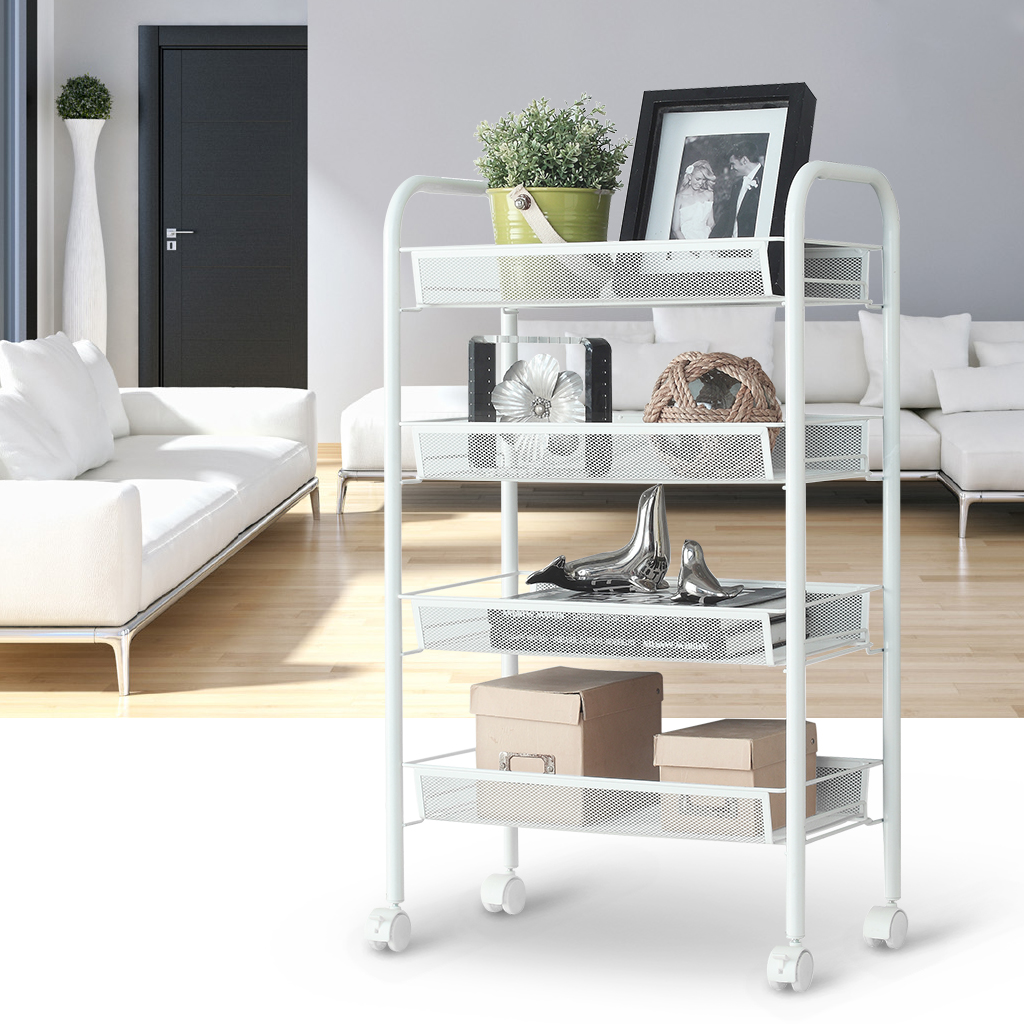 LANGRIA 4-Tier Metal Mesh Rolling Cart for Kitchen Pantry Office Bedroom Bathroom Washroom Laundry