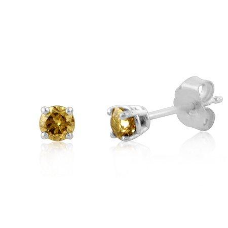 1/3 Carat Natural Champagne Diamond Stud Earrings in Sterling (Champagne Diamond Heart Earrings)
