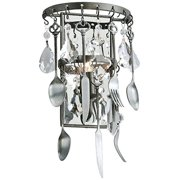"""Bistro 15"""" High Graphite and Crystal Wall Sconce"""