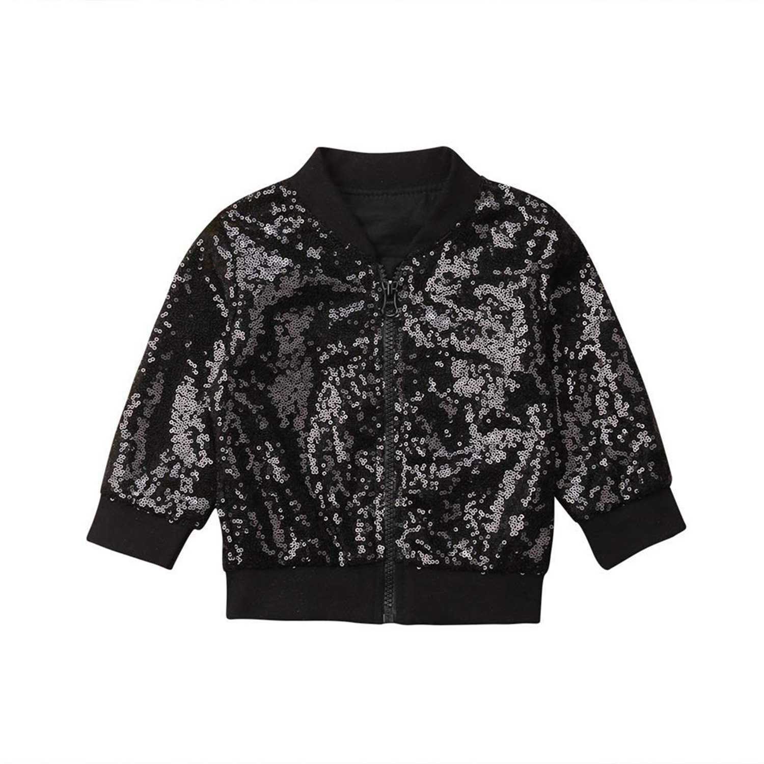 98b5cda57ec8 Toddler Kid Baby Girl Long Sleeve Front Zipper Sequin Bomber ...