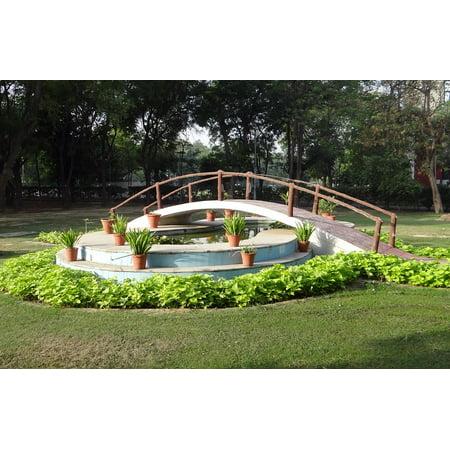 Pond Bridge (Framed Art for Your Wall Fountain Lotus Pond India Bridge Ghaziabad 10x13 Frame )
