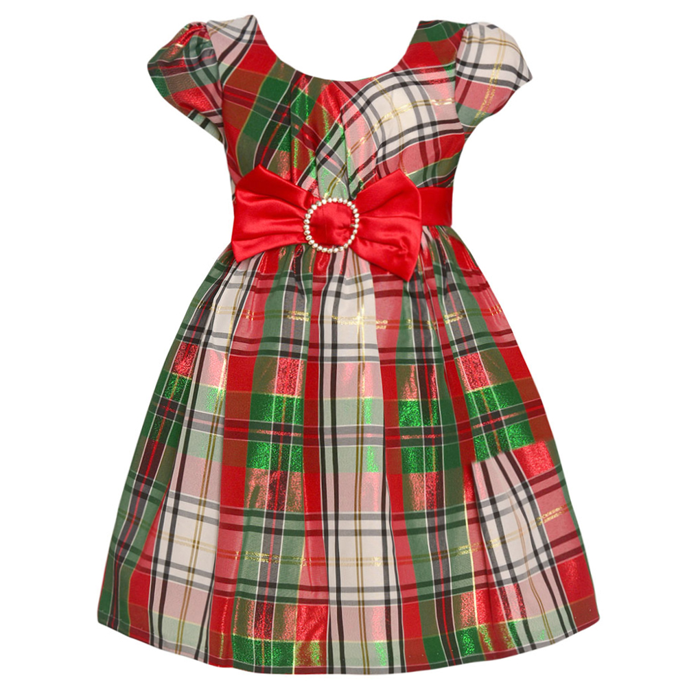 Bonnie Jean Bonnie Jean Little Girls Red Black Plaid Bow