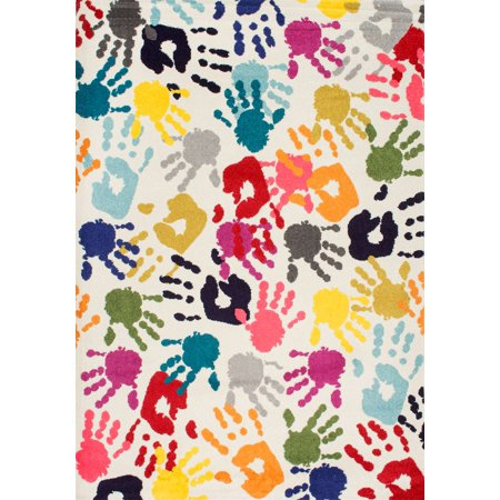 nuLOOM Machine-Made Pinkie Handprint Kids Area (Kas Rugs Kidding Around Pastel)
