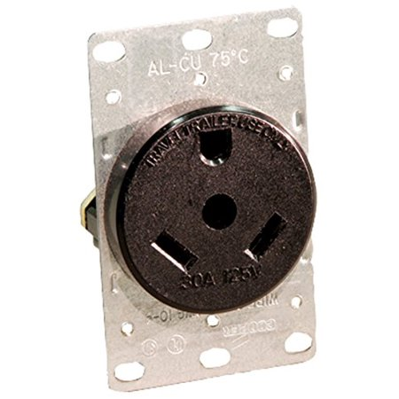 Grounding Flush (7313 30 Amp, 125 Volt, NEMA Tt-30R, 2P, 3W, Flush Mounting Receptacle, Straight Blade, Industrial Grade, Grounding, For Recreational Vehicles, Side Wired, Steel Strap,.., By)