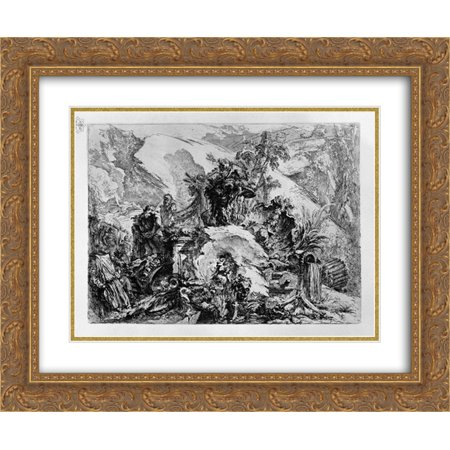Giovanni Battista Piranesi 2x Matted 24x20 Gold Ornate Framed Art Print 'Caprice decoration: a skeletal figure in the center, among the ruins, fragments of sculpture, bones and (Skull Center)