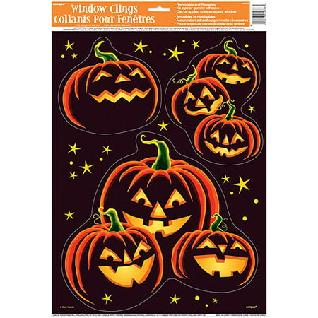 pumpkin grin halloween window decals - Halloween Window Clings