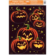 Pumpkin Grin Halloween Window Cling Sheet