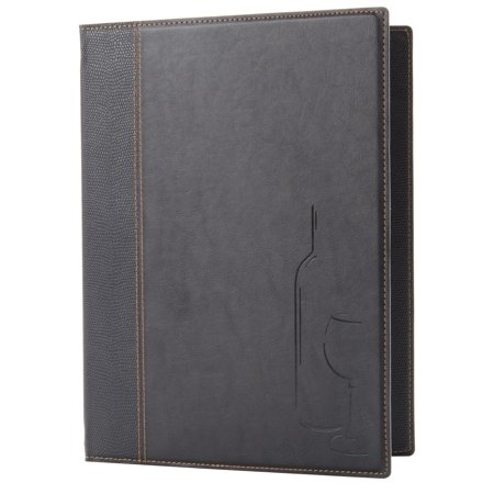 Faux Tabletops - Securit MCTWLSBL Faux Leather Wine Card - Black By TableTop King