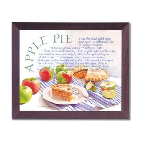Kitchen Recipe Apple Pie Cafe Diner Wall Picture Cherry Framed Art Print