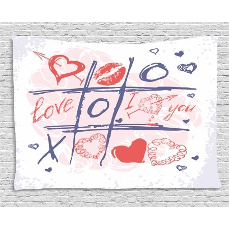 Valentines Day Decor (Valentines Day Decor Tapestry, Xoxo Game with Lips Sketchy Circles Hearts Romantic Love Theme, Wall Hanging for Bedroom Living Room Dorm Decor, 60W X 40L Inches, Blue Red and White,)
