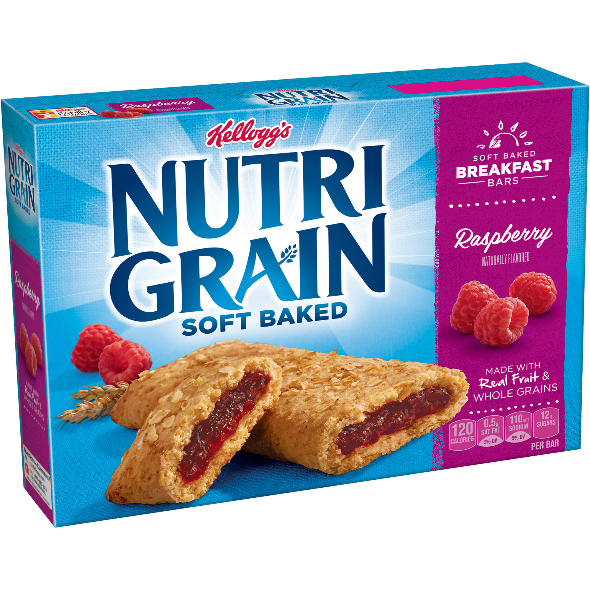 Kellogg's Nutri-Grain Soft Baked Raspberry Breakfast Bars, 1.3 oz, 8 count